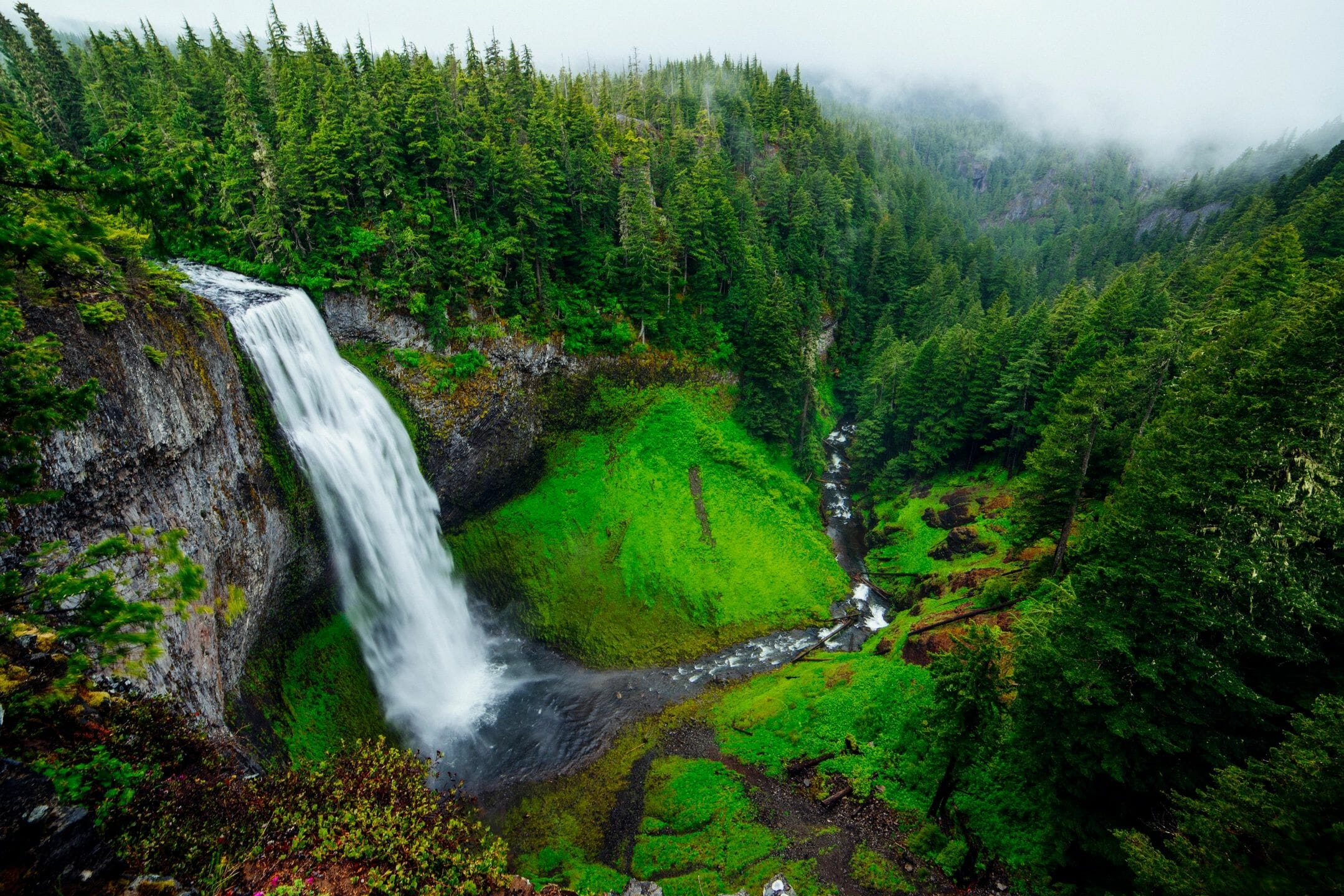 Scenic view of creation, waterfall. essence of life