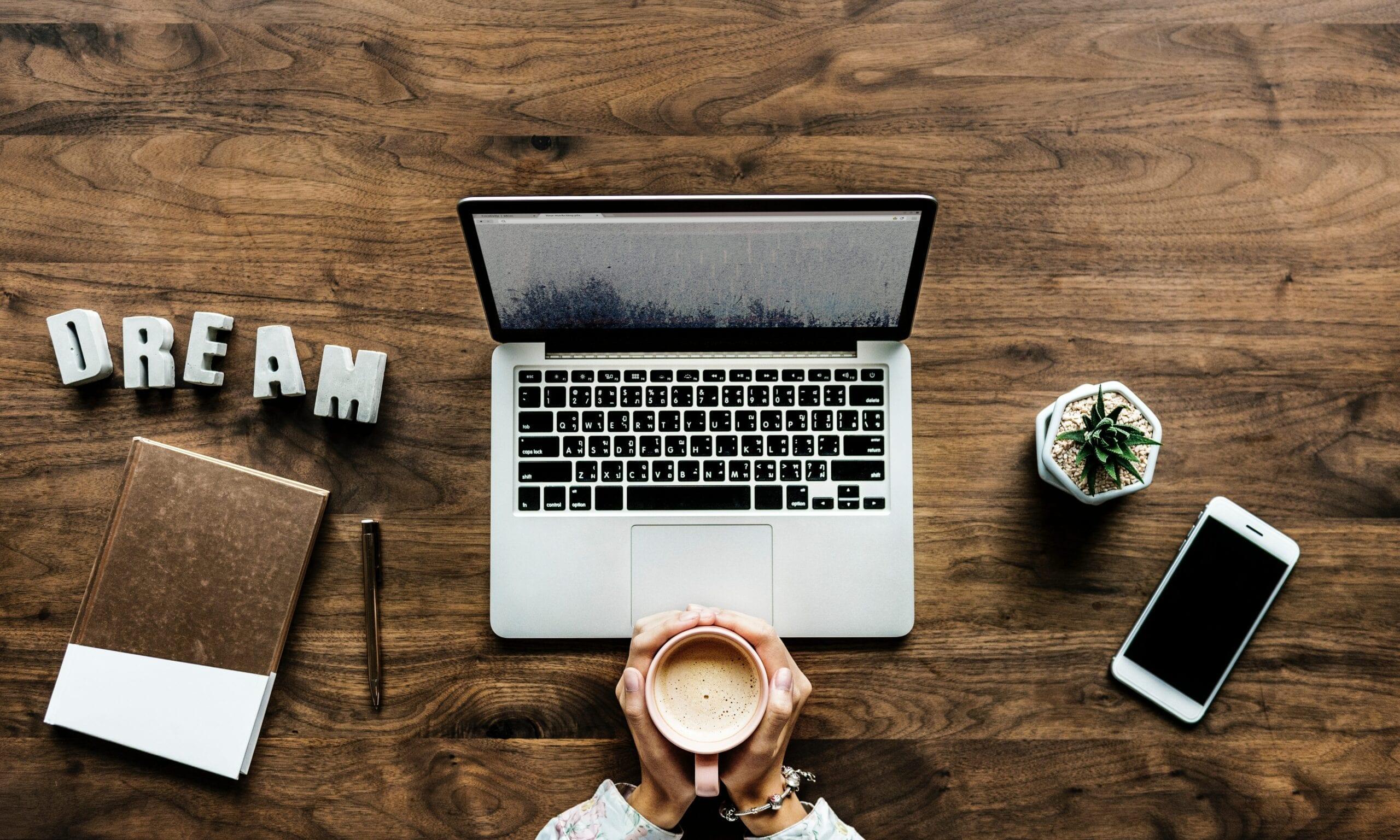 blogging challenge goals, laptop on desk