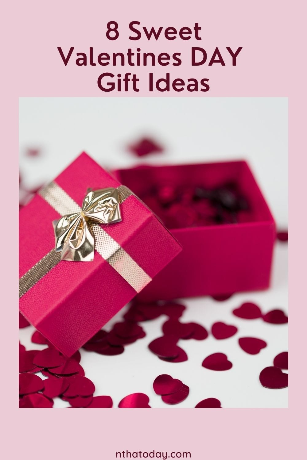 Red opened gift box with hearts
